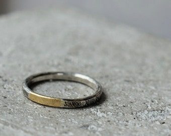 18K gold and sterling silver ring, mixed metal ring, made to order ring, rustic ring gold and silver
