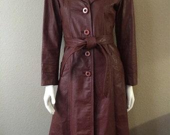 Vintage Women's 80's Leather Jacket, Burgundy, Full Length, Coat by Wilsons (S/M)