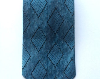 Vintage Neckties Men's 70's Clip On Tie, Blue, Black, Geometric Printed