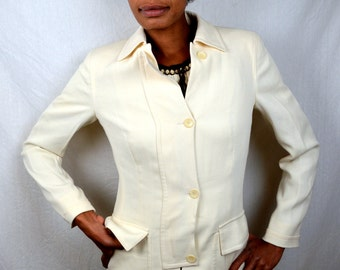 Vintage White Salvatore Ferragamo Coat - Made in Italy