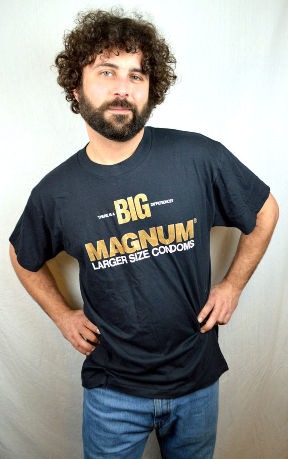 Huge 1990s Bi Level Remodel: Vintage 1990s Big Magnum Condom Sex Tee Shirt By RogueRetro