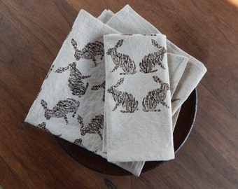 Cloth Napkins, Hand Printed Rabbits in Brown Set of 4 Natural Linen / Cotton Blend