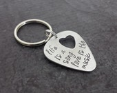 Guitar Pick Keychain with Heart Cut Out -  Personalized Key Chain - Hand Stamped Sterling Silver Guitar Pick - Gifts for Him