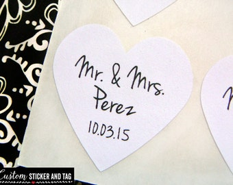 mr and mrs stickers, heart shape stickers, envelope seals, wedding favor, custom wedding stickers, stickers for favors, kraft labels (S-82)