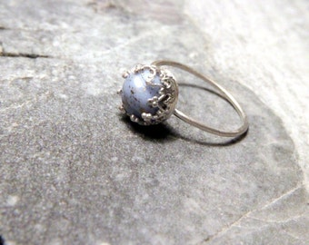 Affordable Engagement Ring - Vellamo/Sterling silver ring, size 6/ Glass vintage bead, gold sparkles/ Blue, light blue, Baby blue/ For gift