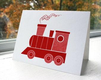 Silkscreen Greeting Cards, Locomotive (Cherry) - Transportation Theme, Original Screenprinted Art