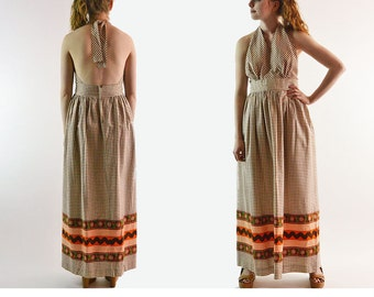 Vintage 70s Dress / Backless Sun Dress / Bohemian Halter Dress / Long Maxi Dress / MISS MARILYN Original Empire Waist Boho Maxi Dress L
