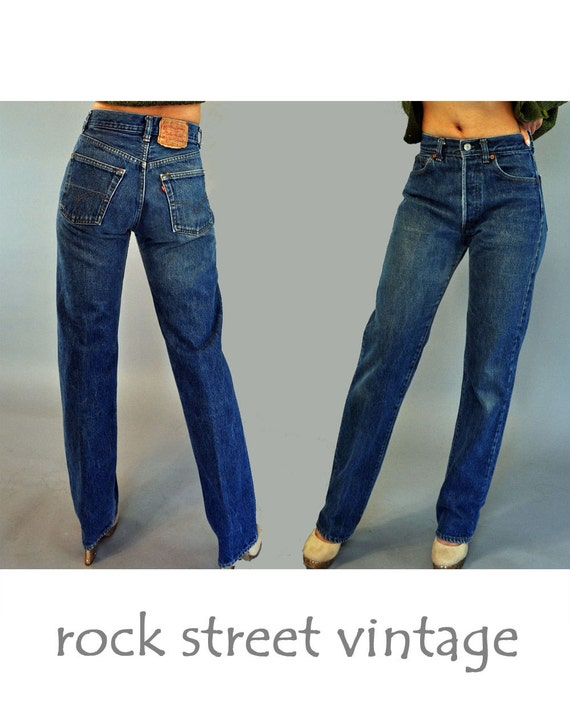 Vintage 70s Levis 501s HIGH waisted JEANS / 1970s Shrink to