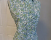 Vintage 60s 1960s Paisley Print Blouse - Ruffle Front - Button Down - Never Worn - medium