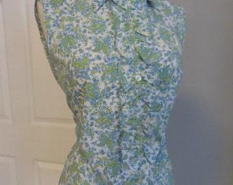 Vintage 60s 1960s Paisley Print Blouse - Ruffle Front - Button Down - Never Worn - medium