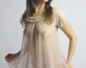 sheer lingerie set including babydoll and full back panty - ROMANTIC - made to order