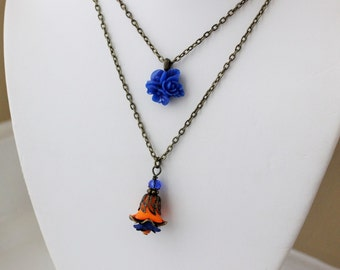 30% OFF- Orange and Blue Flower Layered Necklace in Antique Brass. Wedding Jewelry