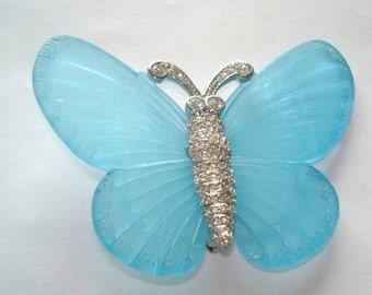 KJL Blue Lucite Butterfly Clear Rhinestone Silver Tone Brooch .
