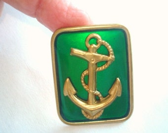 Anchor Brooch Green Tone