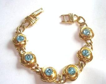 Blue  Rhinestone  Bracelet Gold  Tone