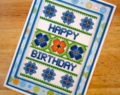 Floral Happy Birthday Handmade Cross Stitch Greetings Card in Green and Blue