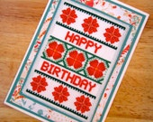 Floral Happy Birthday Handmade Cross Stitch Greetings Card in Teal and Coral Red