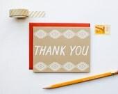 Thank You - Native Graphic Pattern - southwestern - screen printed - boho - rustic - modern - white on kraft - thank you note