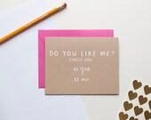 Do You Like Me? Check One  - Love Card - Valentine - Anniversary - screen printed - kraft - cute - modern - kids - hand lettering