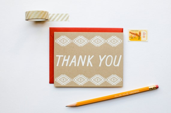 Thank You - Native Graphic Pattern - southwestern - screen printed - boho - rustic - modern - white on kraft - thank you note