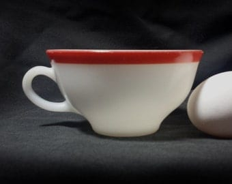 Pyrex Dinnerware Flamingo Cup / 1950s Pyrex by Corning White with Red Coffee Cup