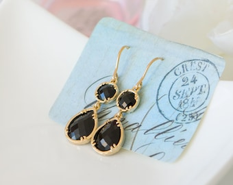 Black earrings, Black and gold earrings, Black dangle earrings, Leverback earrings, Black drop earrings, Black tie wedding