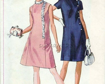 Vintage 1960s Pattern A Line Mod Dress Side Front Button or Sequin Trim Standing Collar 1969 Simplicity 7986 Bust 36