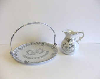 Vintage 25th Anniversary plate and pitcher Lefton China