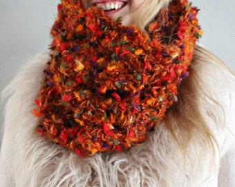 Chunky Cowl Scarf/ Orange Cowl Scarf/ Infinity Scarf/ Circle Scarf/ Gift for Her/ Colorful Cowl