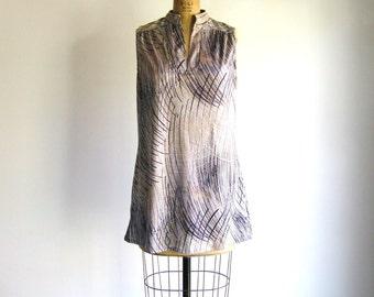 Vintage 1960s 1970s Shift Dress Brushstroke Print Mini Dress M