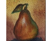 Pear - Hand Painted Aceo Still Life