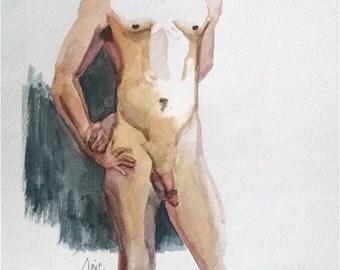 Full Frontal Male Nude - 11x14 Original Watercolor Painting, Mature