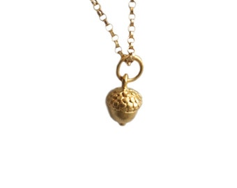 Acorn Pendant Necklace, Lucky Acorn Jewelry, 24K Gold Plated Sterling Silver Acorn, Gold Acorn Charm Necklace, Gifts For Women