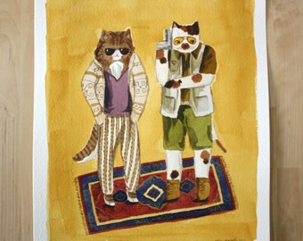 The Big Meowski- Big Lebowski Parody Cat Original Watercolor Painting- 10x13""
