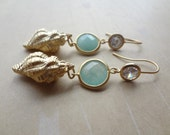 Gold Plated Seashell Earrings with Cubic Zirconia & Aqua Chalcedony Stones