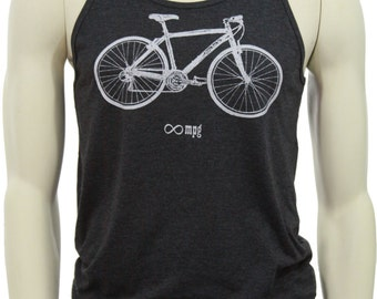 Bicycle| Soft Lightweight tank top| Infinite MPG| Bike| art by Matley| Workout apparel| Unisex| Gift for him and her.