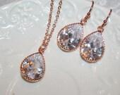 Fall Wedding Jewelry Rose Gold Jewelry Rhinestone Jewelry Teardrop Jewelry Set, CZ Necklace Earrings Crystal Sparkling Bridal Jewelry