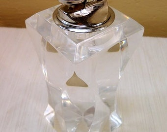 Vintage Mid Century Modern Clear Lucite Large Table Lighter