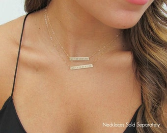 WEDDING DATE Roman Numeral Bar Necklace, Engraved Gold Bar Necklace, Personalized Nameplate Necklace, 14K Gold Filled or Sterling