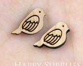 4pcs (SWC43) DIY Laser Cut Wooden Bird Charms