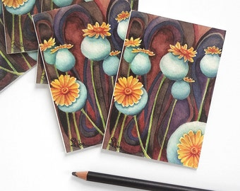 poppy pods card set, flower note cards, art print notecards, blue poppies invitations