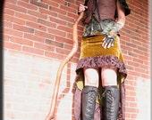 Skirt - Steampunk - Burning Man - Tribal Overskirt - Bohemian - Green Velour - Victorian Gypsy Boho - Goth - Sexy - Handmade - Size Small