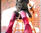 Thigh High Leg Warmers - Steampunk Clothing Accessory - Long Sexy Socks - Knee High Leggings - Patchwork Socks - Burning Man - One Size