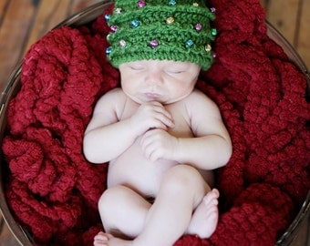 "CROCHET PATTERN HAT Christmas Tree in 5 Sizes Newborn to 22"" Beaded"