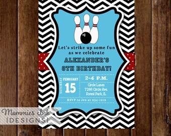 Chevron Bowling Party Invitation - PRINTABLE INVITATION DESIGN