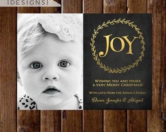 Chalkboard with Faux Gold Foil Joy Christmas Wreath Photo Holiday Card, Chalkboard Joy Card, Joy Christmas Card, Gold Christmas Card