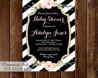 Watercolor Flowers Baby Shower Invitation, Black and White Stripes Baby Shower Invitation, Pastel Flowers, Printable Invitation