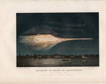 1877 meteorite of Quenngouck print original antique astronomy science print