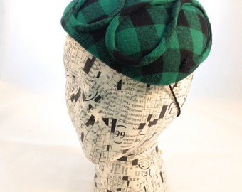 Flannel Shirt Fascinator Green Black Check Grunge Classic