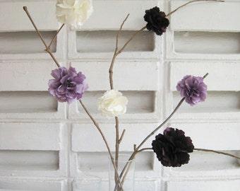 6 pieces Romantic Handmade Lavender Plum White Peony Satin Flowers Decor. Baby Shower Centerpiece. Rustic Wedding Decoration